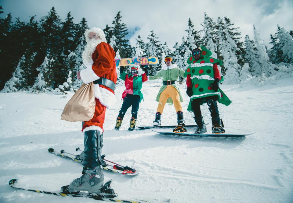christmas, santa, claus, snow, winter, sport, trees, plant, nature, cold, weather, people, costume, props, skii