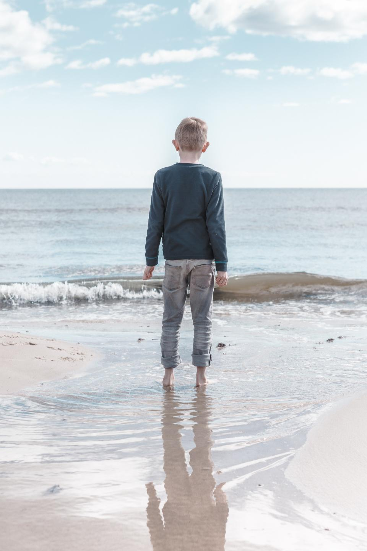 boy, child, kid, people, beach, sand, water, shore, ocean, sea, sunny, sky