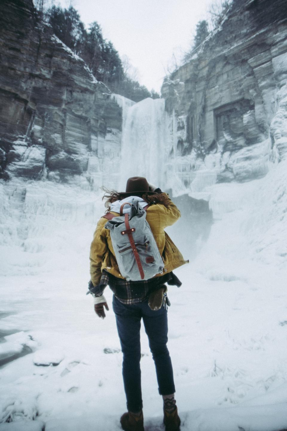 waterfall iceberg snow winter mountain hill people man guy travel backpack