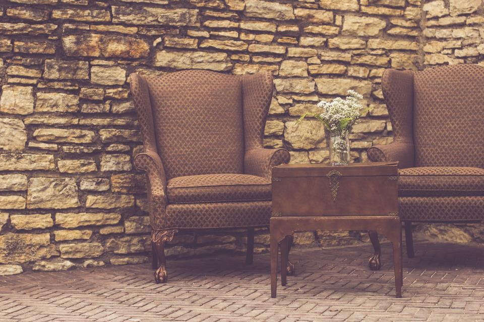table, chairs, vase, flowers, bouquet, bricks, cobblestone, stones, furniture, decor, luxury, antique, vintage