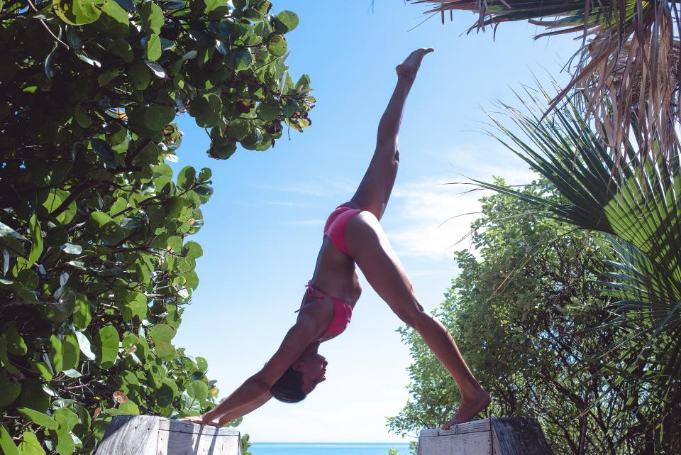 yoga, pose, stretch, health, fitness, working out, bikini, beach, sunshine, summer, ocean, sea, water, girl, woman, people, beauty, leaves, plants