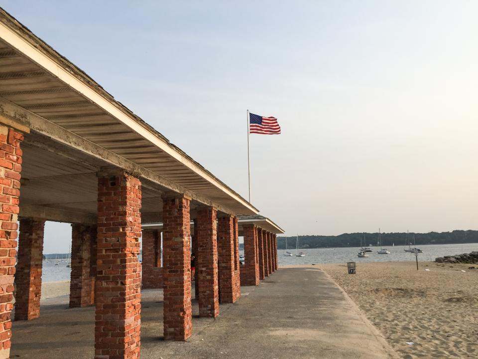 beach, sand, american, flag, USA, United States, boats, ships, bricks, summer