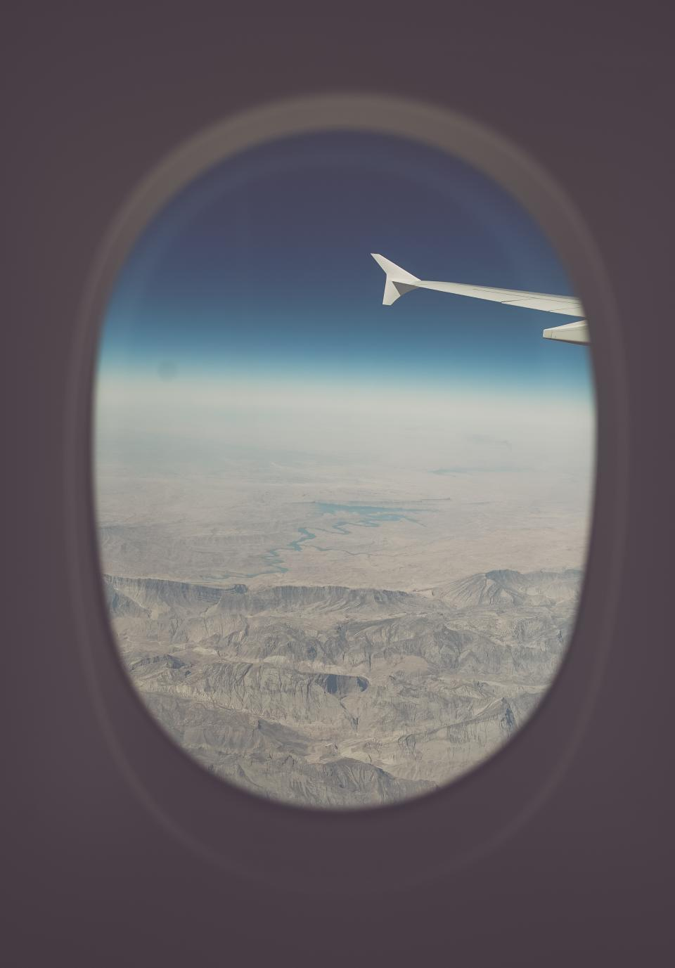 airplane, airline, travel, trip, blue, sky, flight, window, outside, view