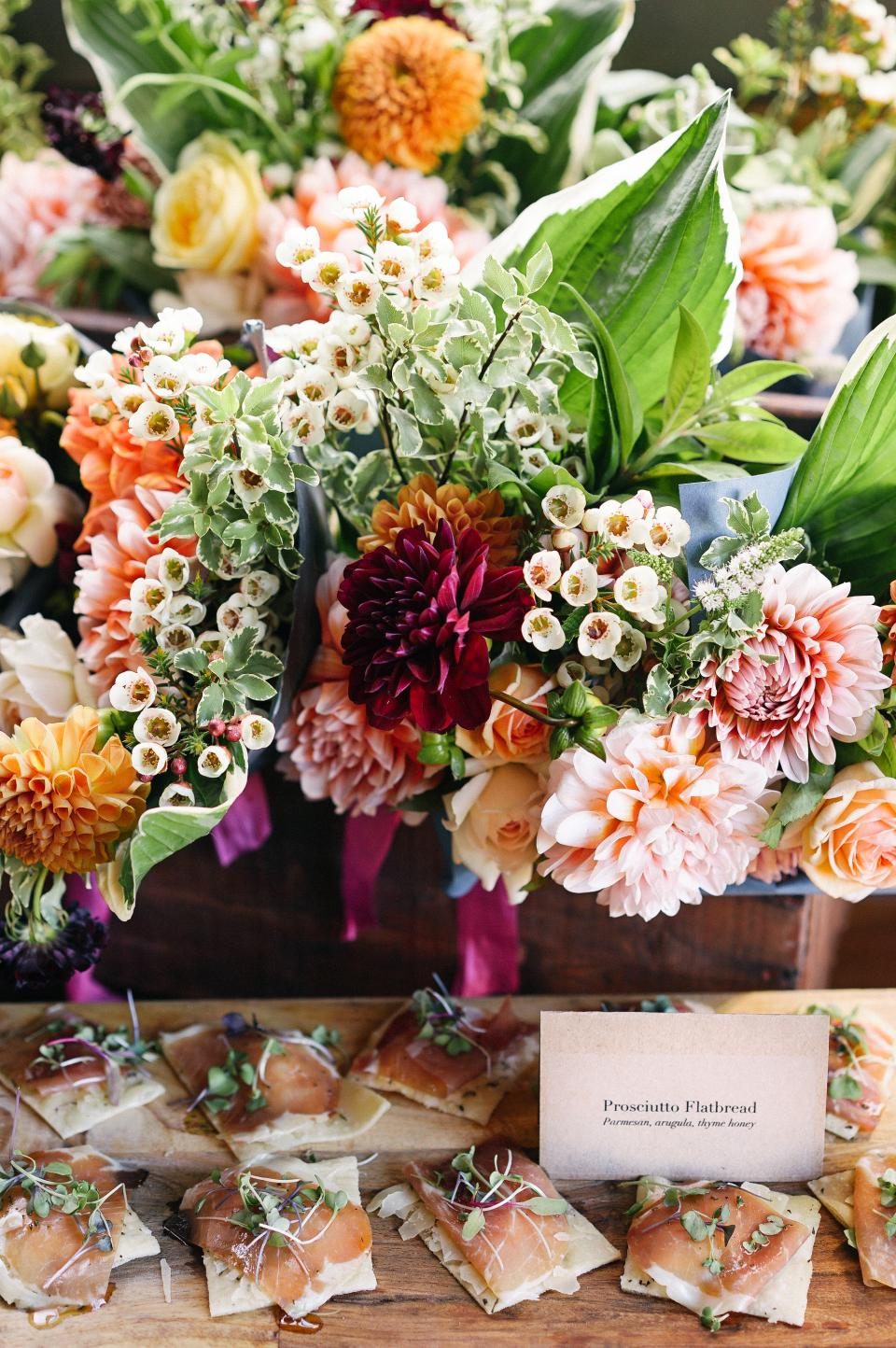 food, meat, vegetables, table, dish, buffet, display, flower, restaurant