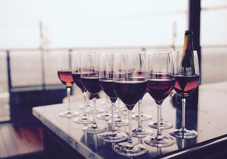drinks dining restaurant bar party wine glasses red wine bottle