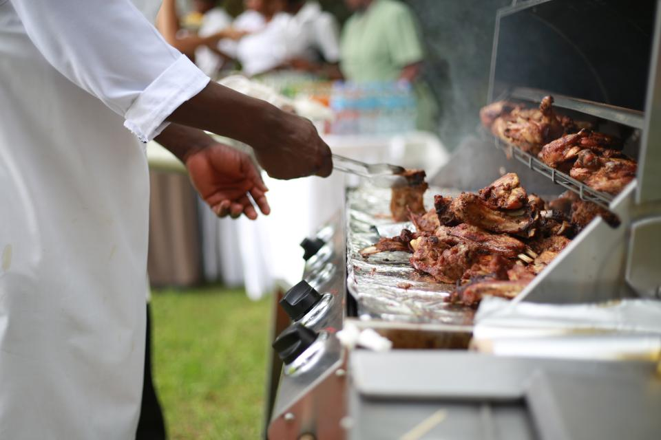 fried, chicken, roast, viand, dish, food, tong, oven, steel, vendor, street, market