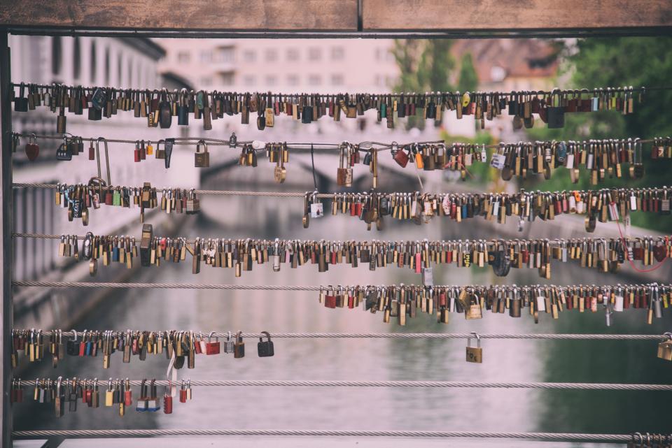 wire, lock, steel, metal, promise, bridge, river, water, blur, outside, travel