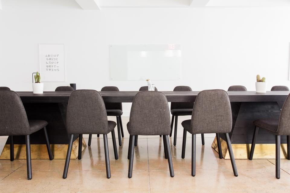 interior, design, tables, chairs, white, wall, board, floor, meeting, room, office