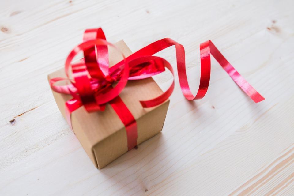 christmas holiday gift box red ribbon