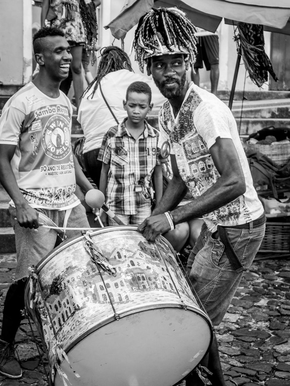 street, people, men, kid, child, boy, friends, smile, laugh, happy, drum, stick