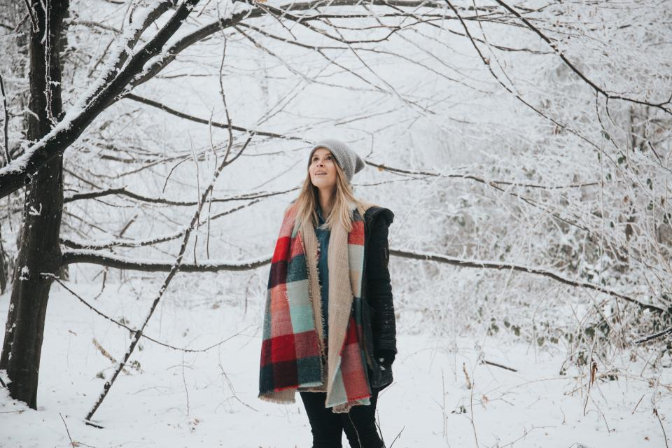 people, woman, tree, branch, snow, winter, travel, outdoor
