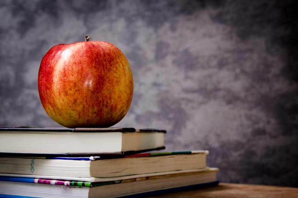 apple textbooks books class classroom teacher school study education fruit food desk