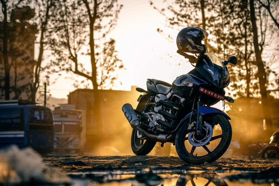 motorcycle, bike, engine, road, sunset, helmet, trees