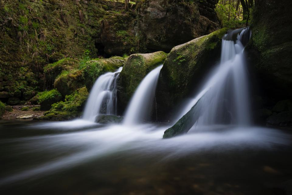 waterfalls stream water nature rocks hill green mosses outdoor cliff landscape