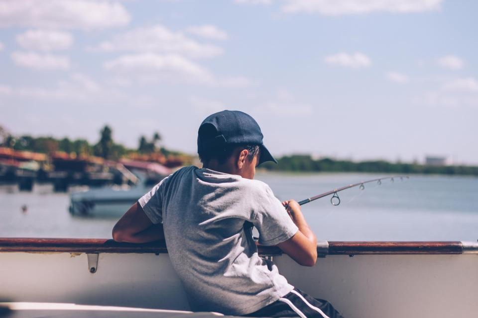 people, boy, kid, child, fishing, boat, sailing, sky