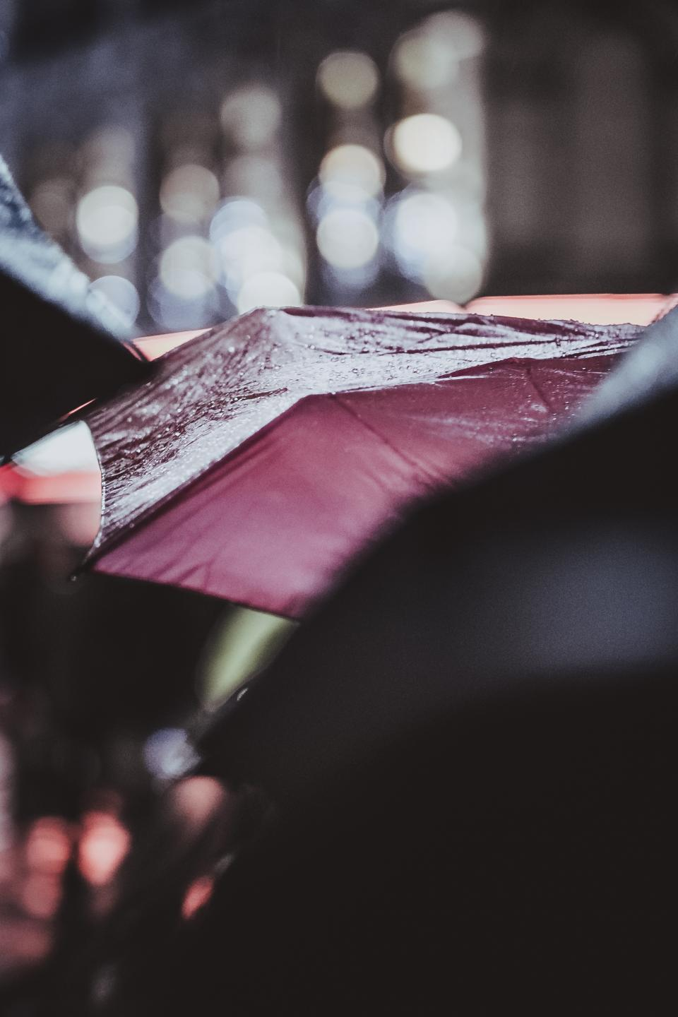 rain, umbrella, water, cold, weather, people, bokeh
