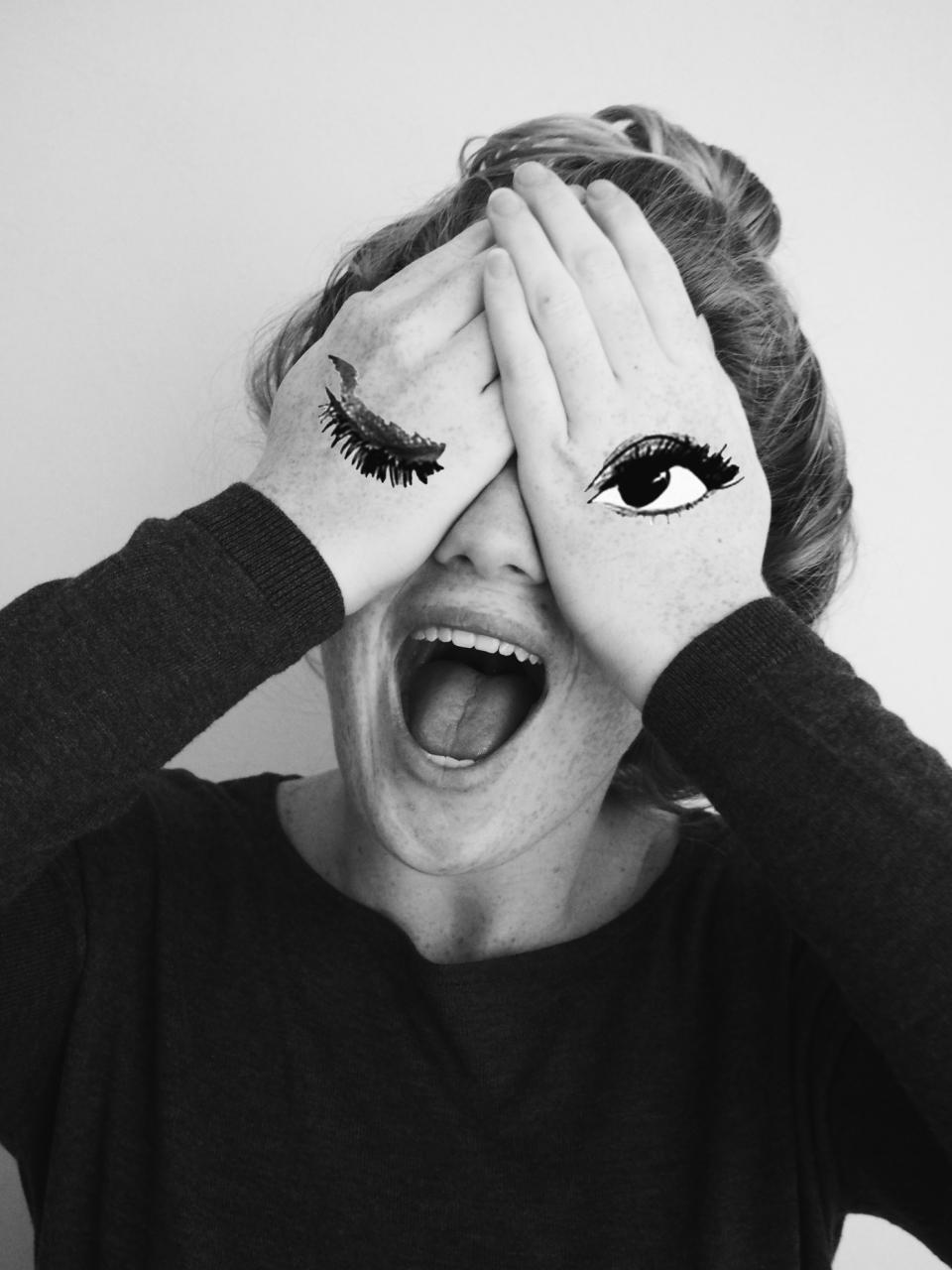 people girl hands makeup paint eyes mouth black and white