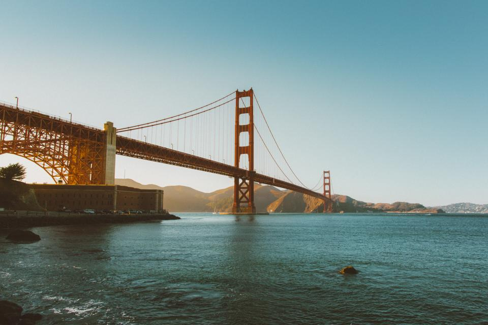 Golden Gate Bridge San Francisco architecture bay water mountains sunshine summer blue sky