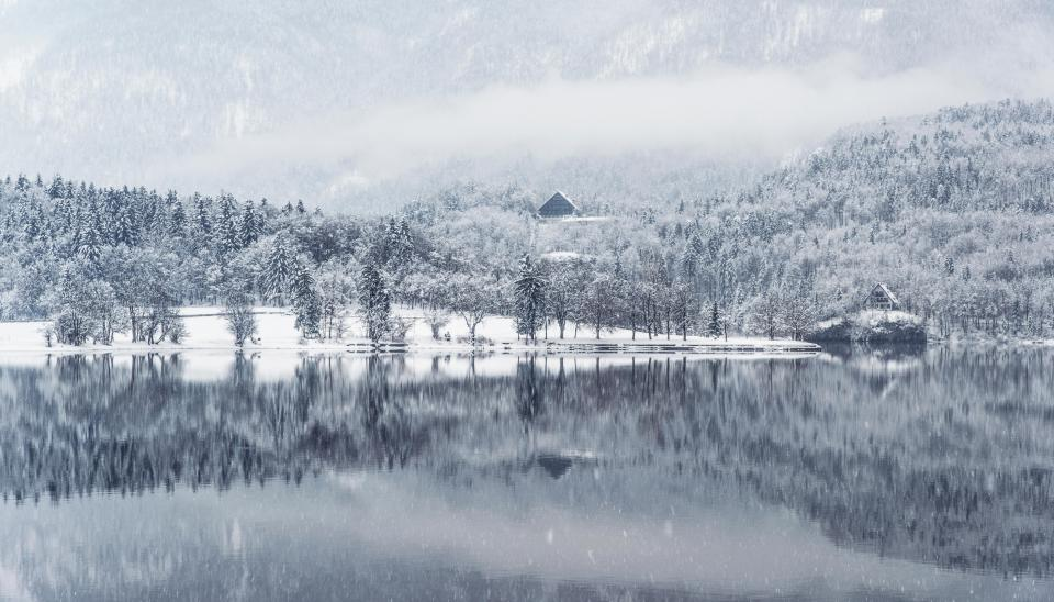 winter lake water reflection snow cold landscape nature outdoors mountains trees forest white
