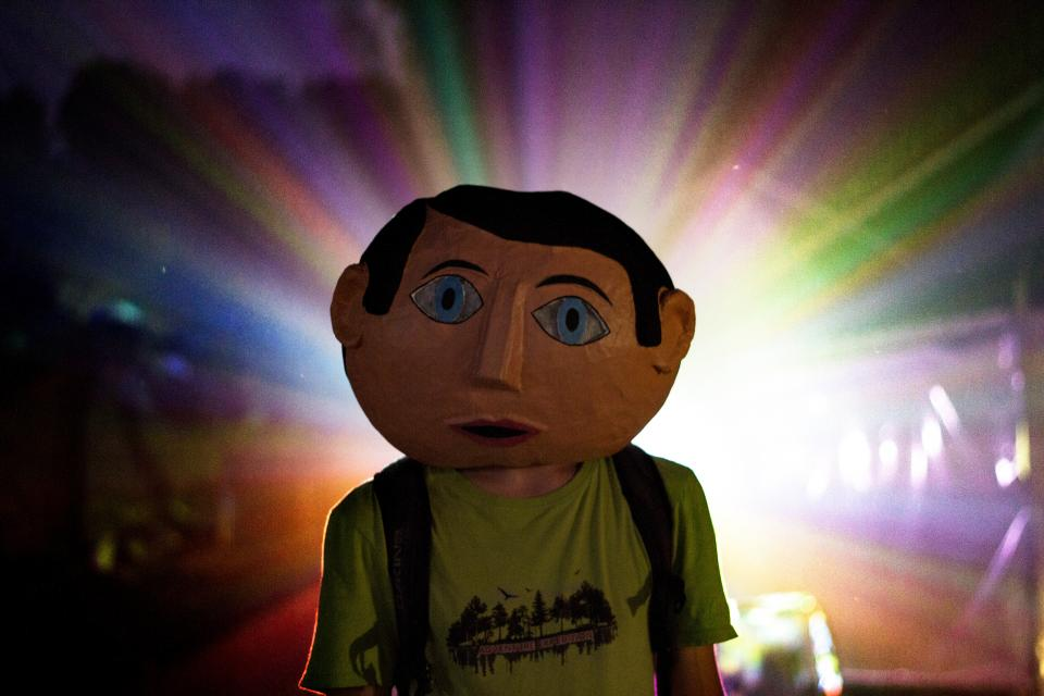 art artist light reflection backpack sunset colorful mascot