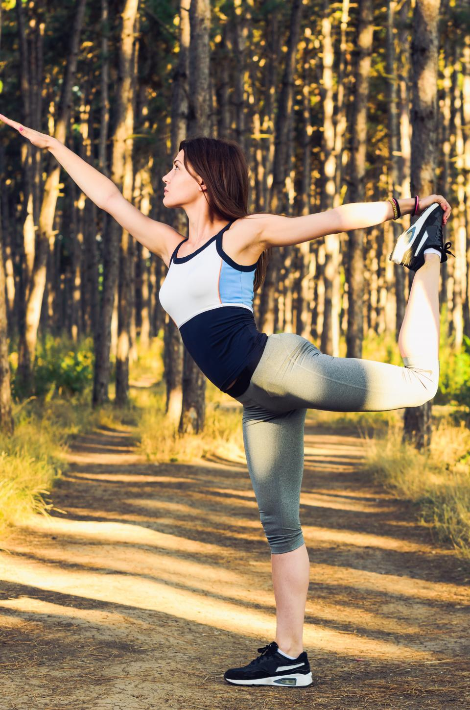 people, woman, girl, female, trees, plant, outdoor, nature, sunny, day, morning, exercise, physical, fitness, health, lifestyle, stretching, yoga