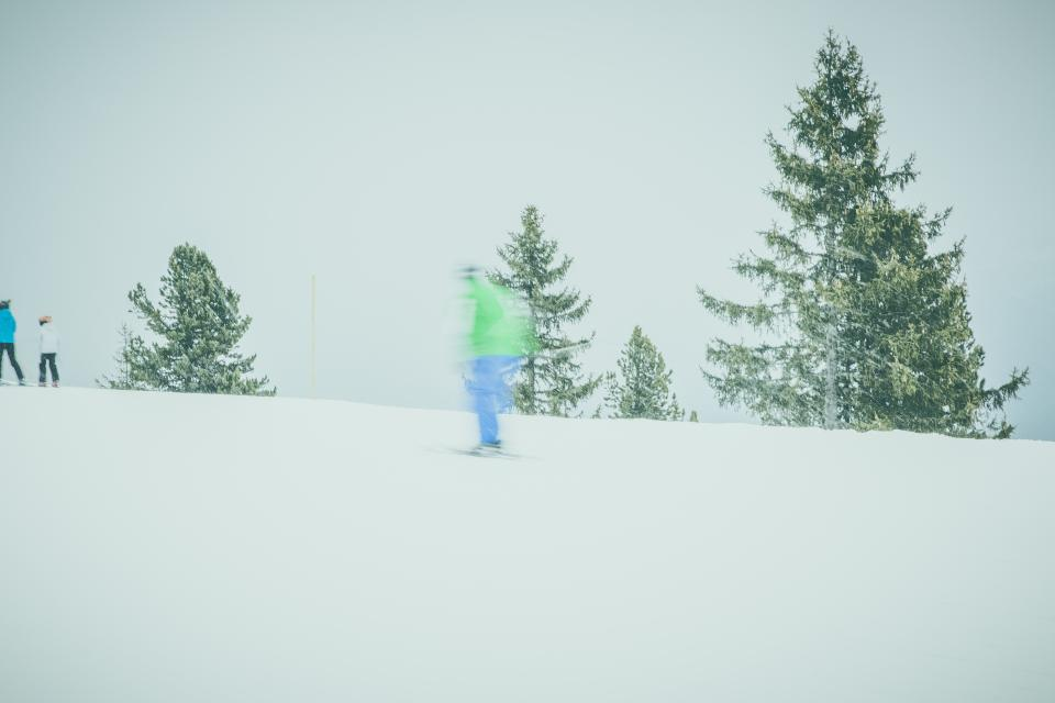 snow, winter, mountain, tree, plant, nature, outdoor, travel, people, skiing, blur