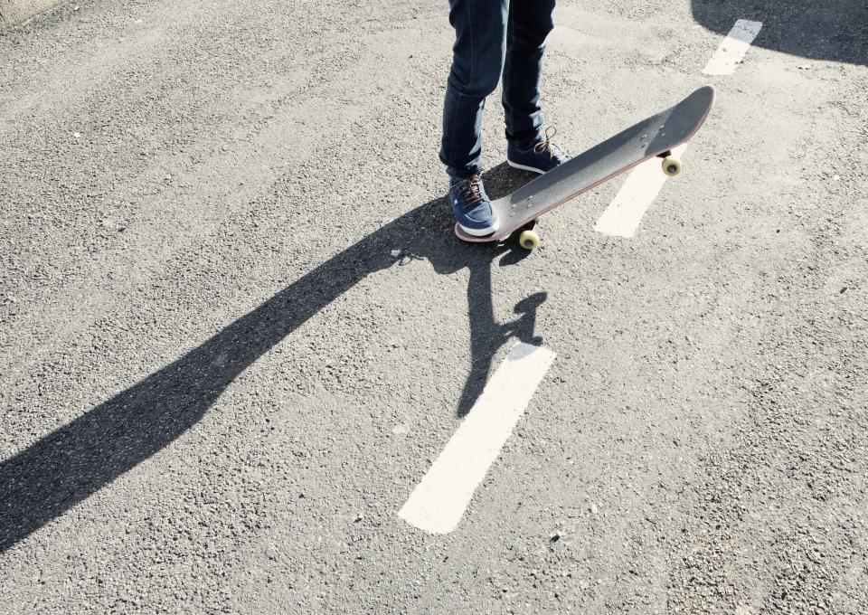 skateboard, skater, pavement, concrete, shoes, jeans