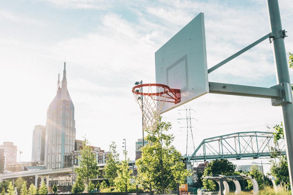 basketball, sport, game, ring, tree, plant, building, city, sunlight, sunrise, cloud, sky