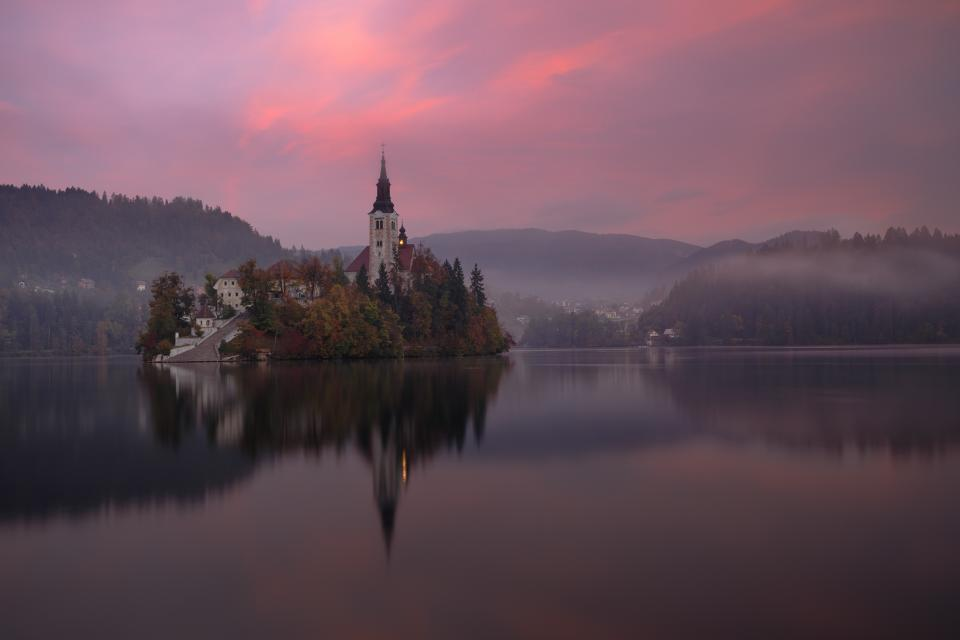 building, tower, house, mountain, sky, clouds, sunset, lake, water, nature, trees, reflection