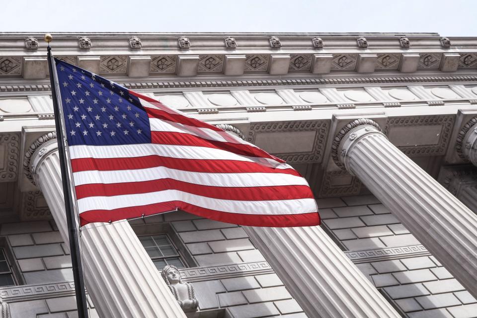 american flag, america, pole, building, establishment, sculpture, bricks, post, arts, stripe, red, white
