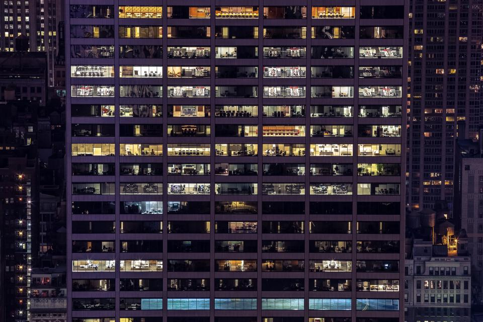 building architecture office business corporate windows city urban downtown night evening lights dark