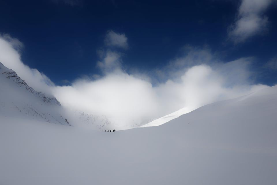 mountain, snow, winter, clouds, sky, people, men, skier, skiing, mountaineering, sport