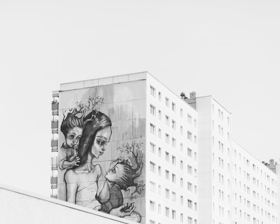 paint, art, graffiti, parent, mother, kid, children, baby, architecture, white, black and white, monochrome, building, establishment