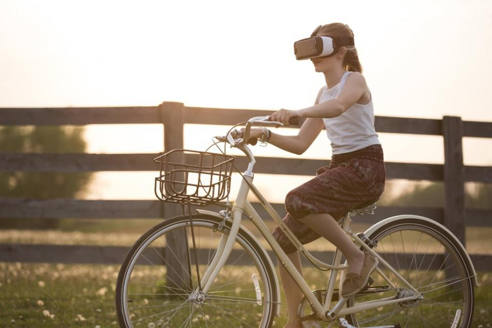 people girl beauty bike bicycle wood grass trees nature sky sunset ride virtual reality vr