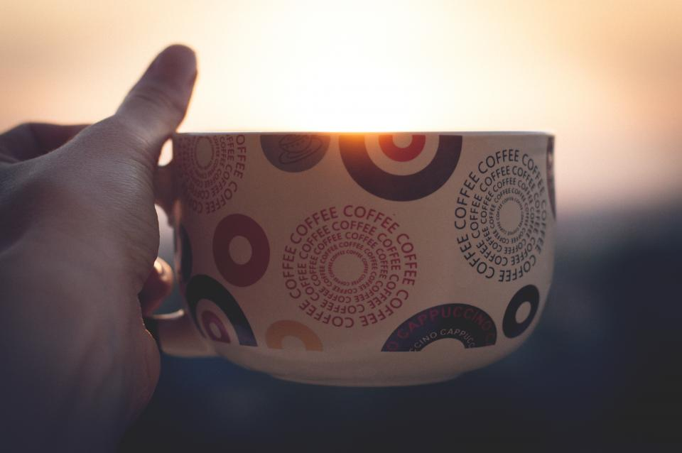 coffee hot drink espresso cup hand sunrise morning