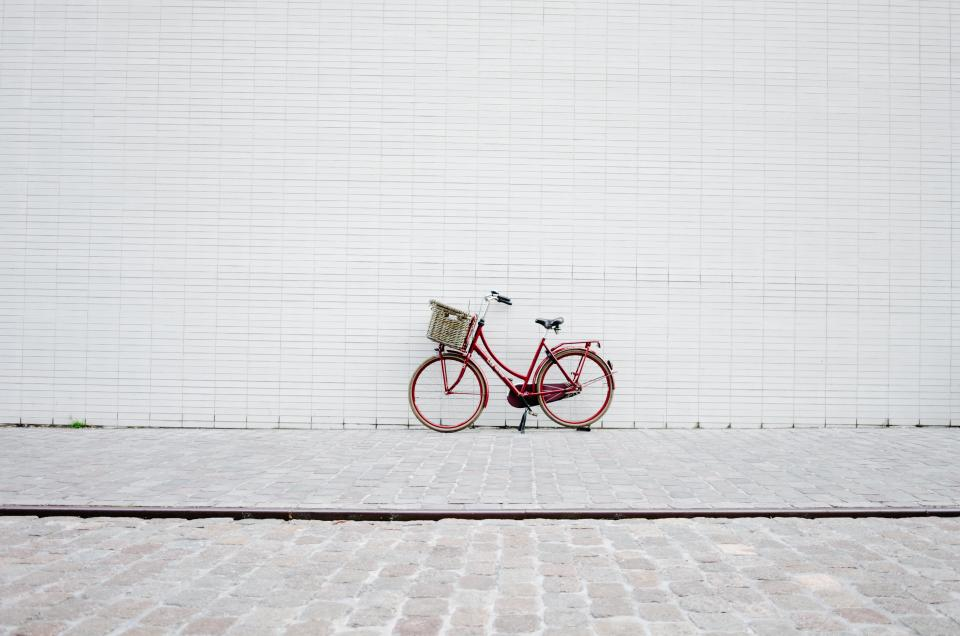 red, bicycle, bike, wall, bricks, floor, white