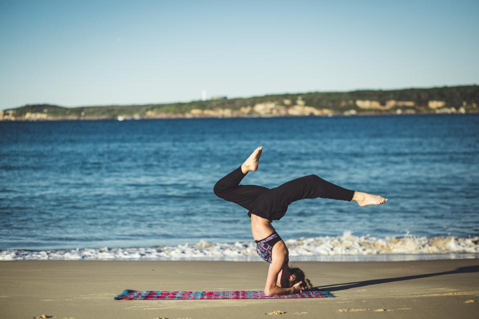 yoga, fitness, exercise, health, working out, pose, girl, woman, people, blue, sky, beach, sand, water, ocean, sea, sunshine, summer