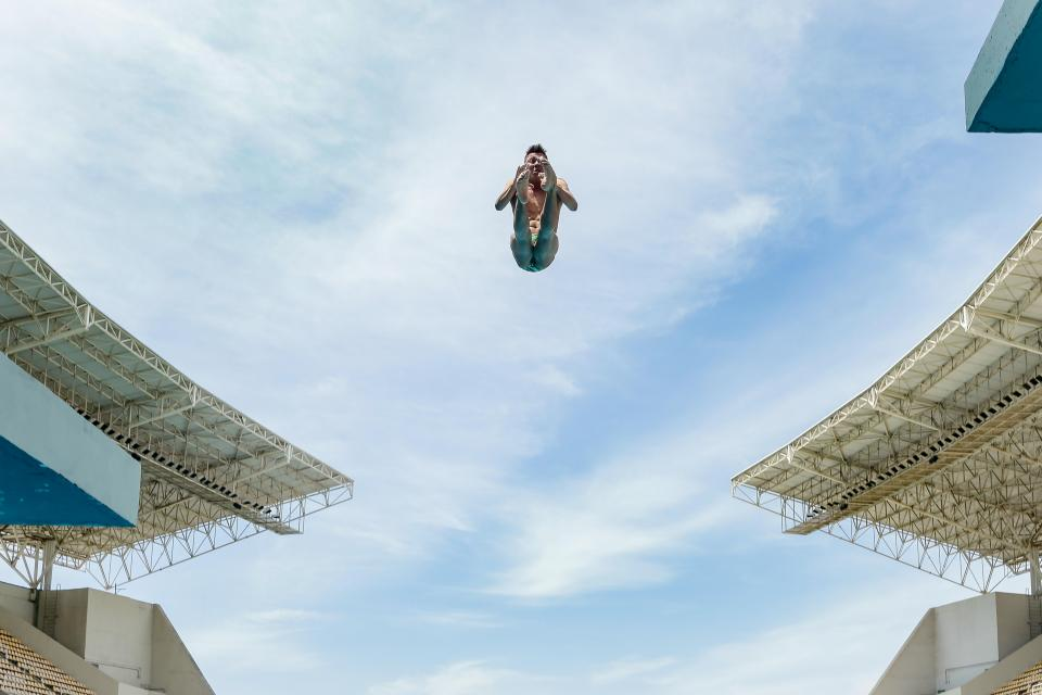 sky, clouds, man, people, jump, high, athletic, sport, olympic, games