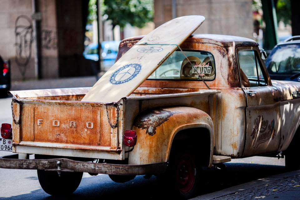 truck, vehicle, transportation, old, vintage, rusty, surf, board