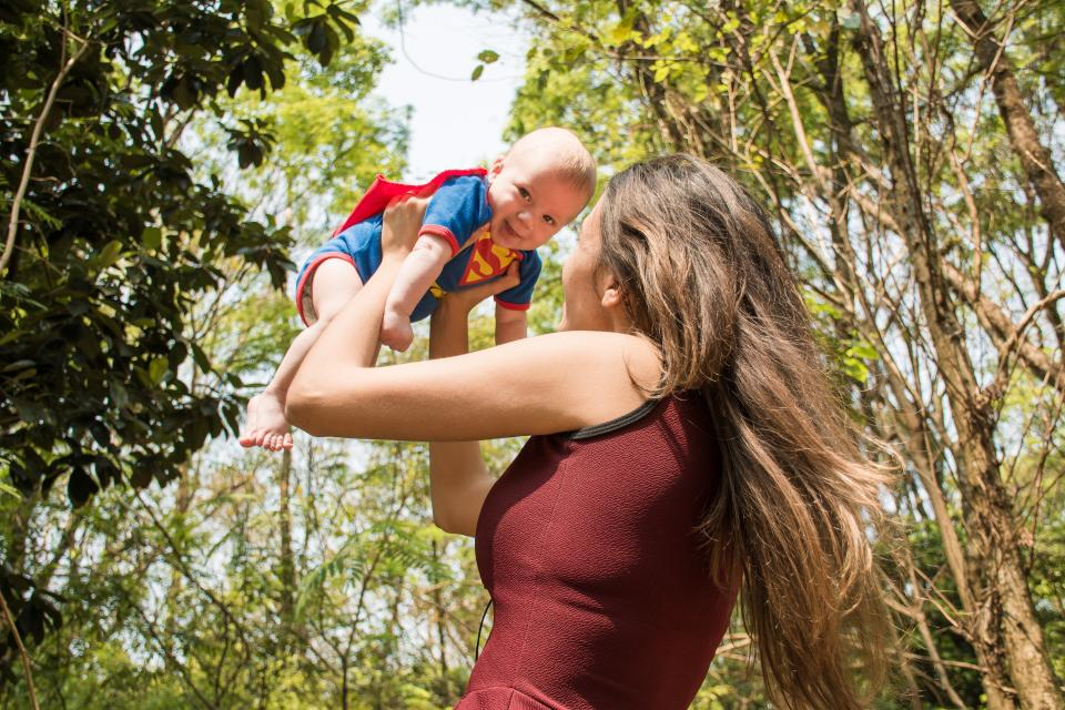 hero, superman, mother, baby, woods, forest, happy, people, woman, smile, woods, trees