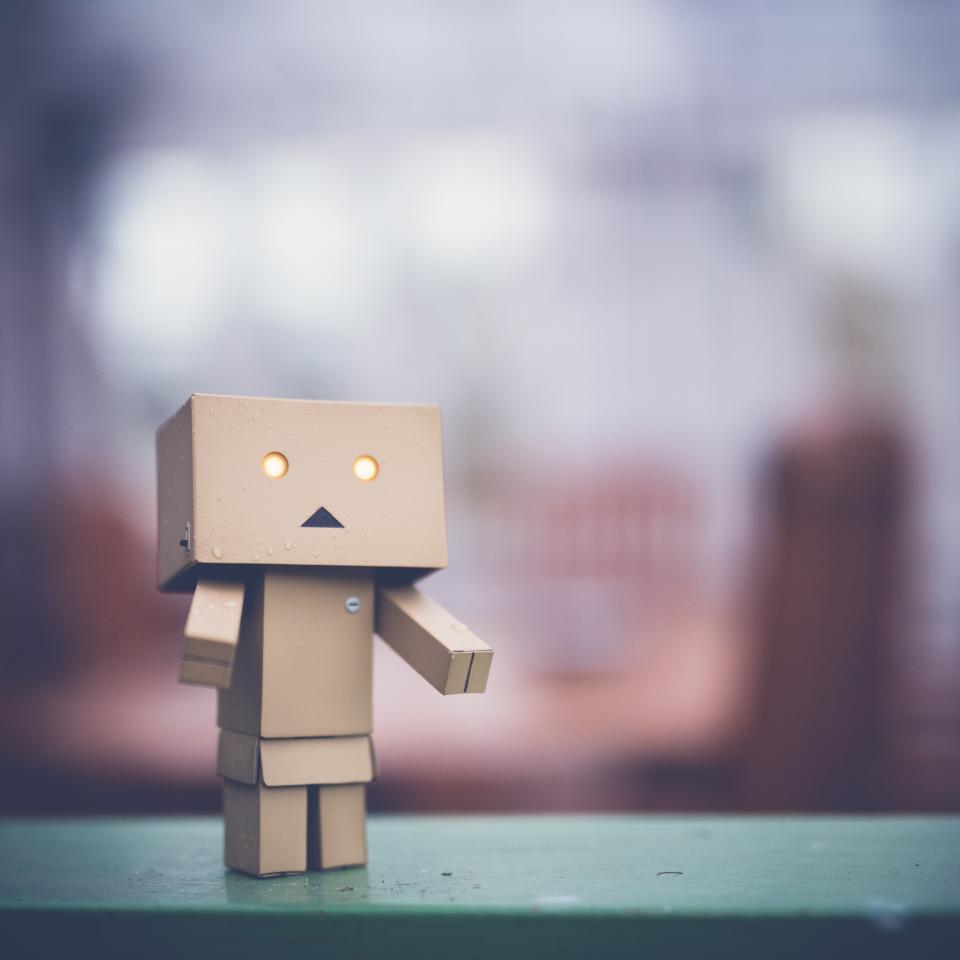 danbo sad art box cardboard robot character