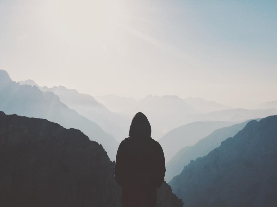 mountain, highland, valley, ridge, peak, view, sky, clouds, dark, people, alone, sad, man, adventure, silhouette