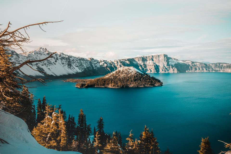 blue, lake, water, trees, plant, nature, forest, sunrise, island, snow, winter, cold, sky, clouds