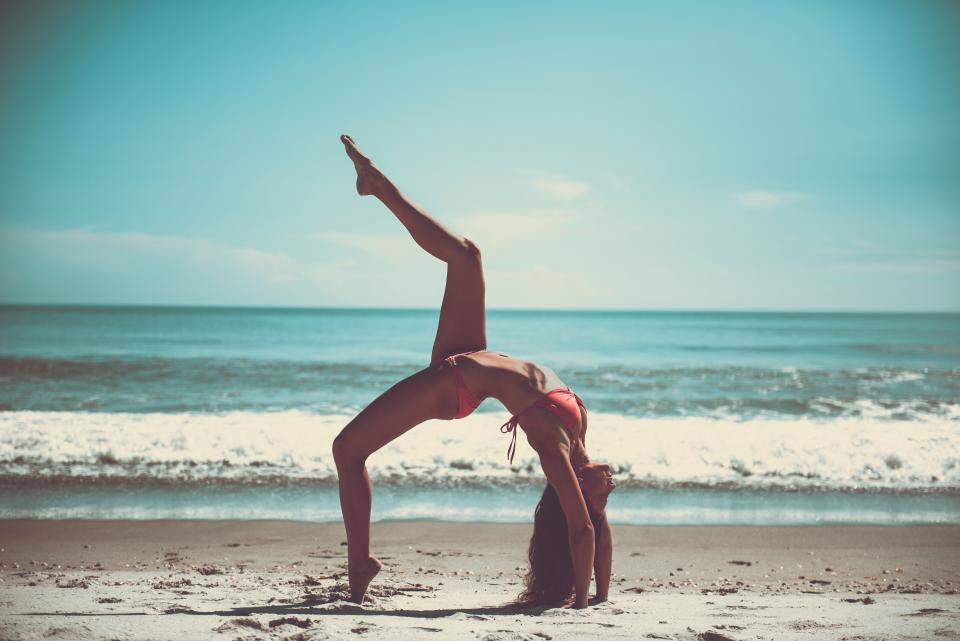 yoga, pose, stretch, health, fitness, working out, bikini, beach, sand, sunshine, summer, ocean, sea, waves, water, shore, girl, woman, people, beauty