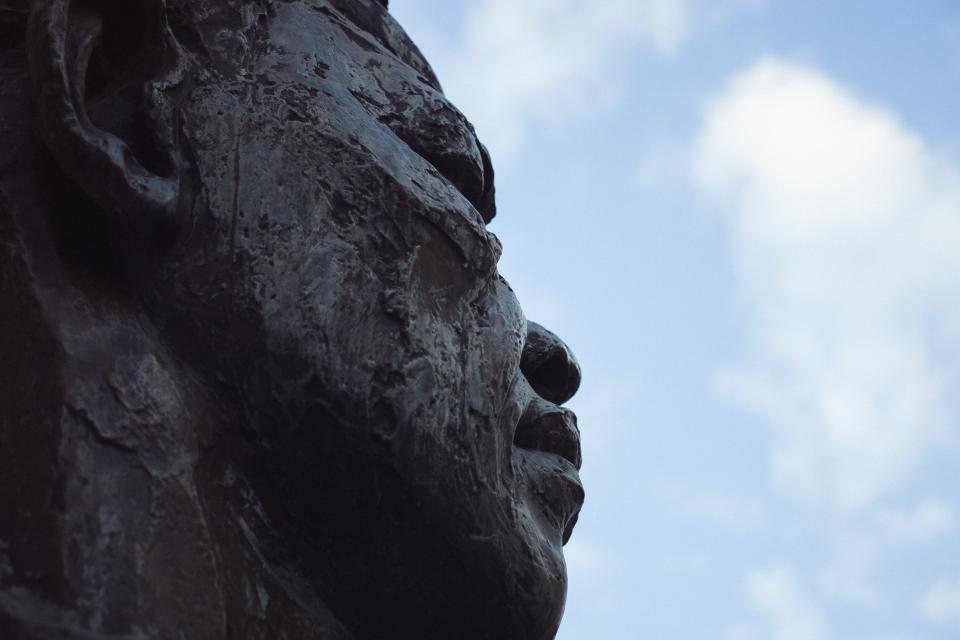 statue, art, design, architecture, clouds, sky, black