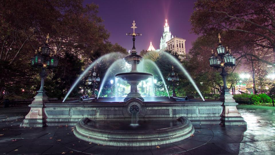 park, water, fountain, tree, plant, plaza, buildings, lights, nature