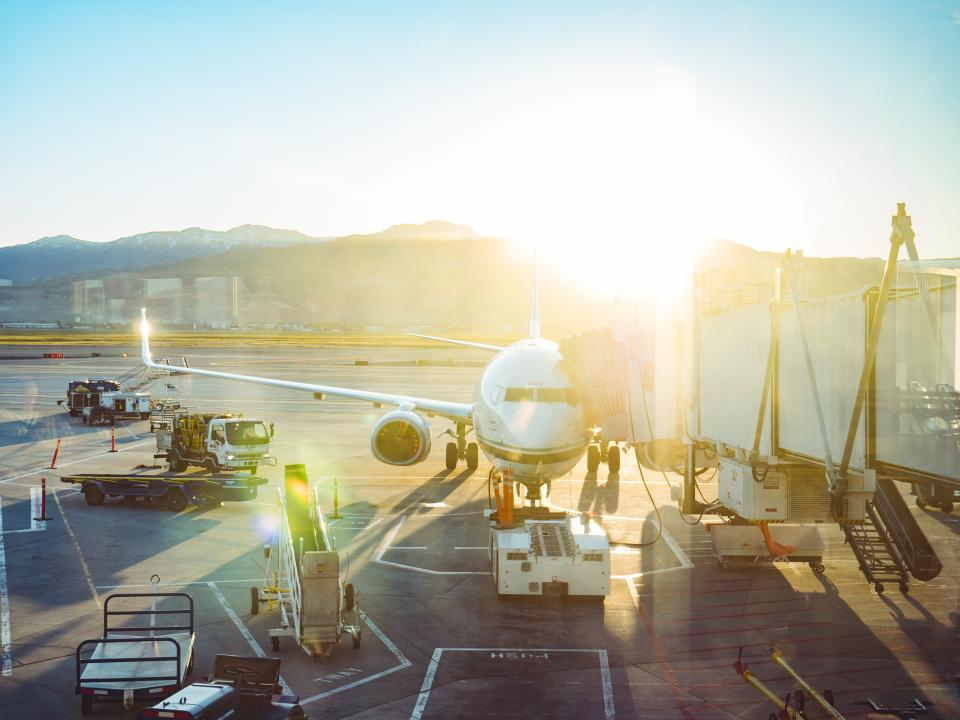 airport, airplane, transportation, runway, airline, truck, vehicle, cargo, travel, morning, trip, sunshine, sunlight, sunrise