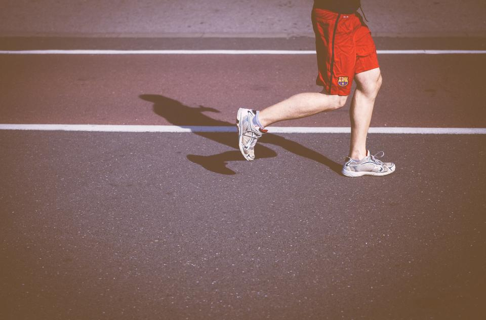 people, man, jogging, health, exercise, fitness, shoes, footwear, street, road, sunny, shadow