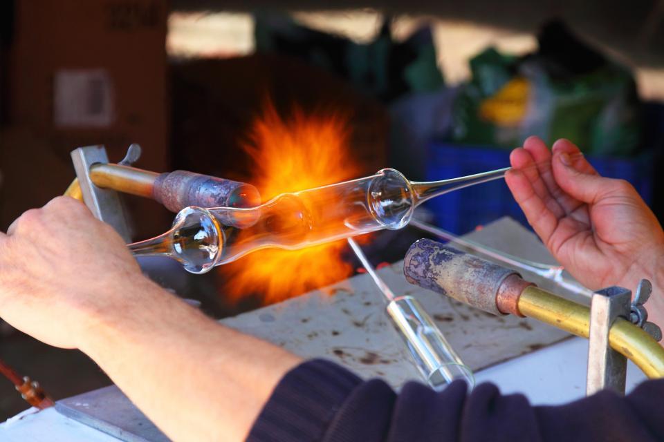 heat, glass, construction, repair, people, man, hands, fire, work, job