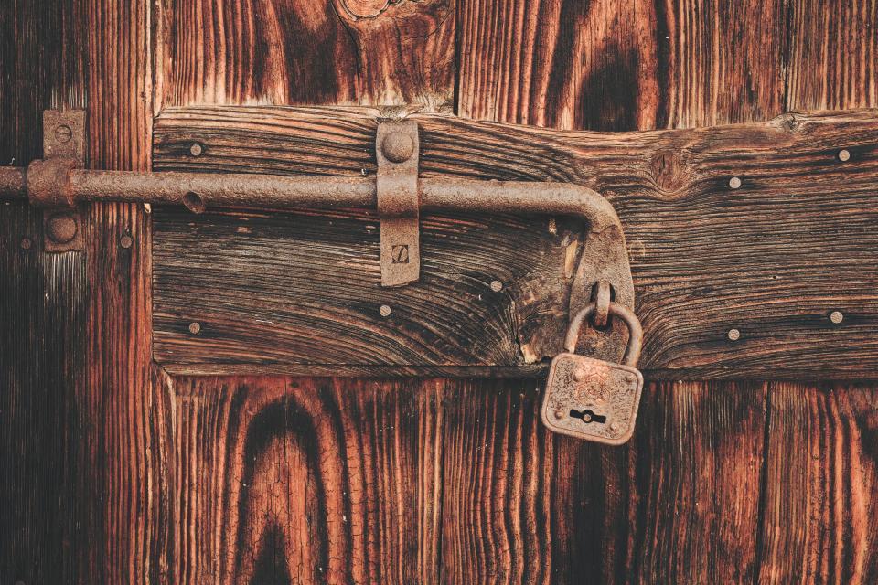 lock, door, chain, wood, rusty